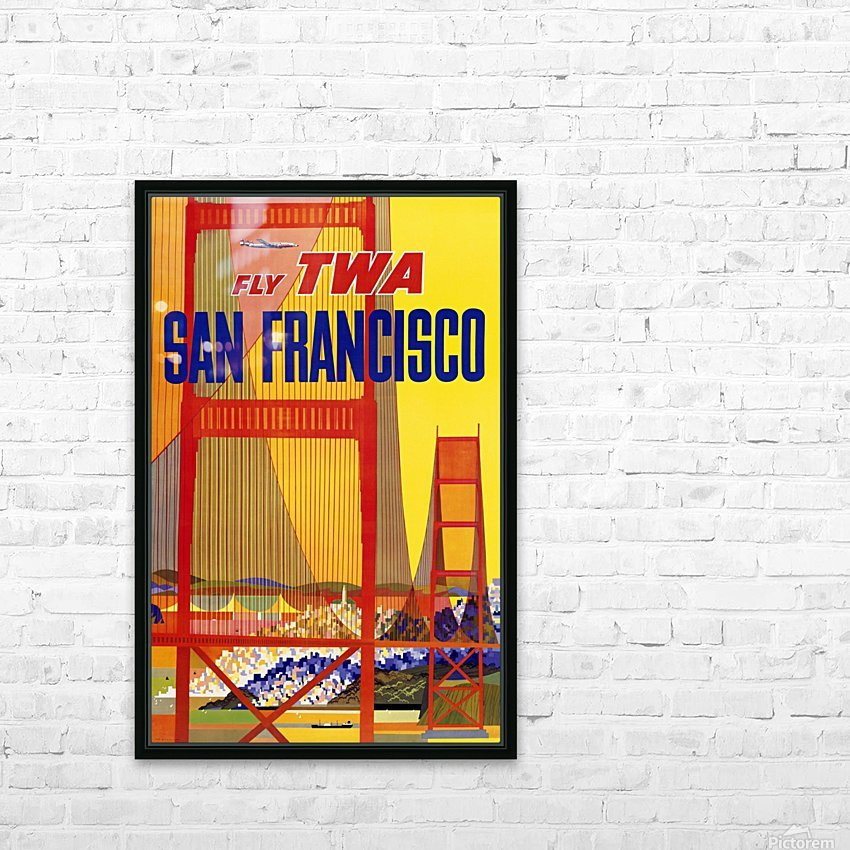 Fly TWA San Francisco poster HD Sublimation Metal print with Decorating Float Frame (BOX)