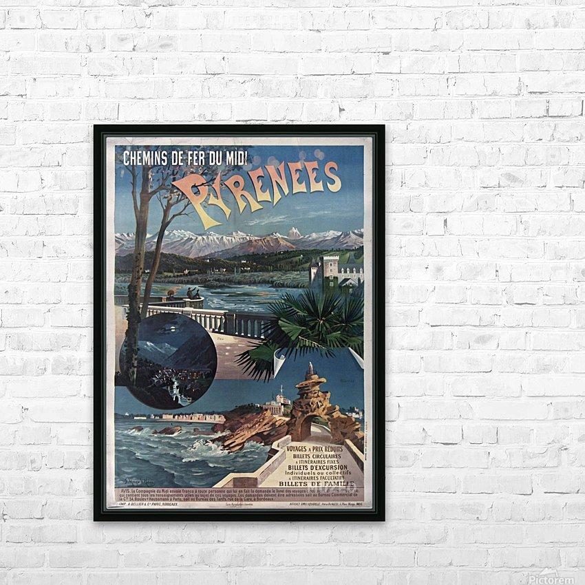 Chemins de fer du midi Pyrenees vintage poster HD Sublimation Metal print with Decorating Float Frame (BOX)