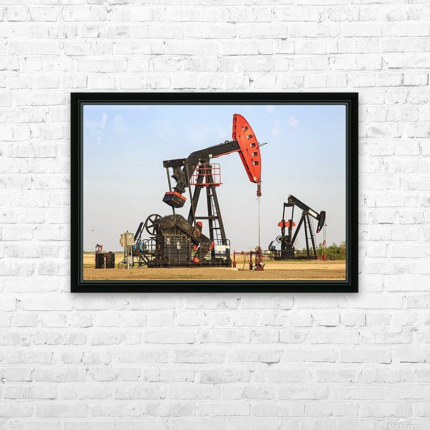 Oil well pump jacks at Bakken Oil Field near Estevan; Saskatchewan, Canada HD Sublimation Metal print with Decorating Float Frame (BOX)