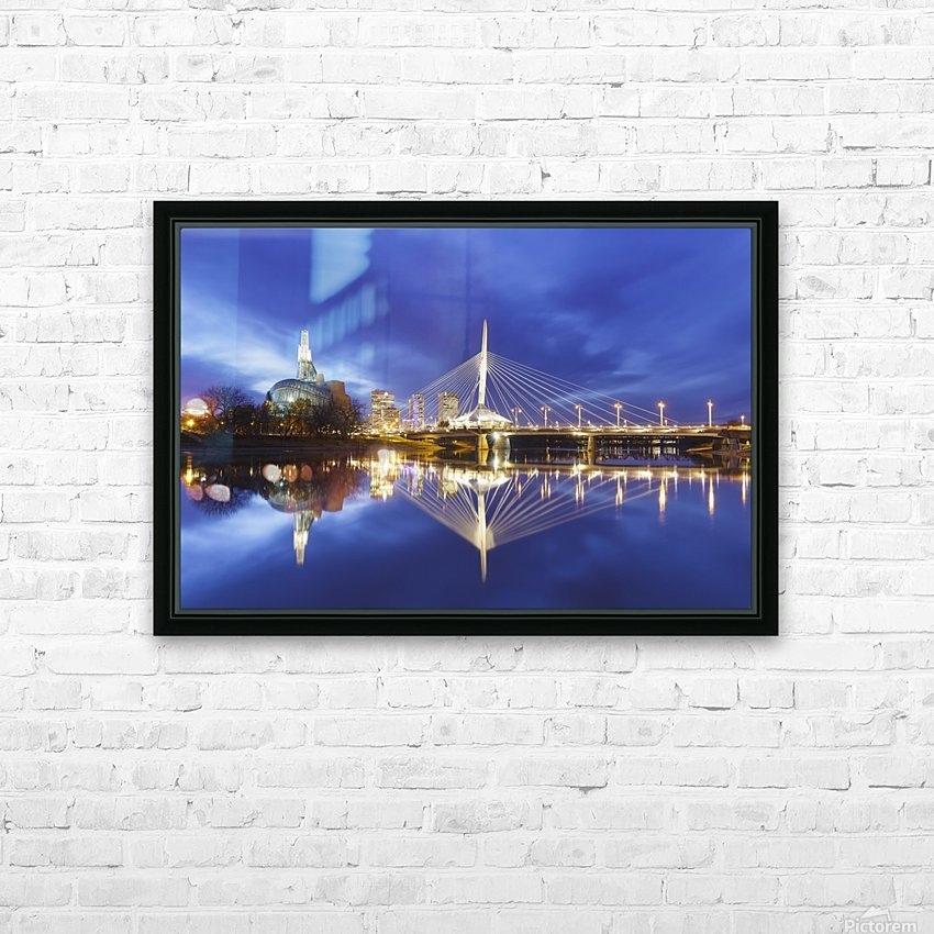 Canadian Museum for Human Rights and Esplanade Riel bridge reflected in the Red River; Winnipeg, Manitoba, Canada HD Sublimation Metal print with Decorating Float Frame (BOX)
