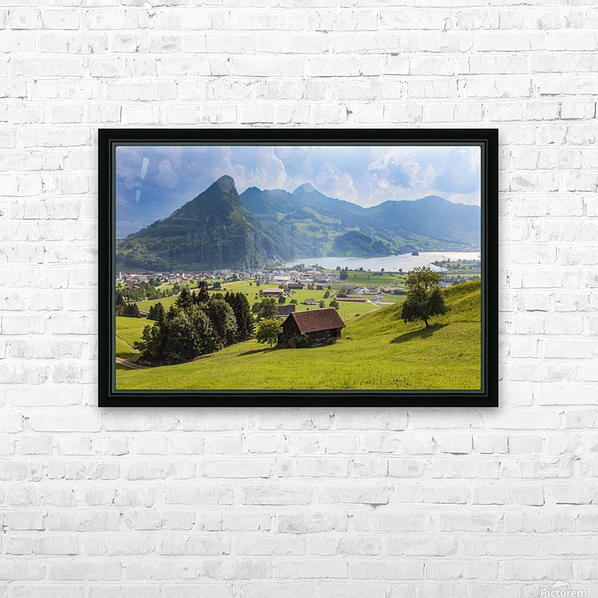 Seewen, a village on Lake Lauerz; Schwyz Canton, Switzerland HD Sublimation Metal print with Decorating Float Frame (BOX)