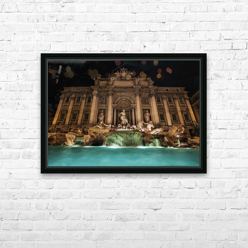 Trevi fountain illuminated at nighttime; Rome, Italy HD Sublimation Metal print with Decorating Float Frame (BOX)