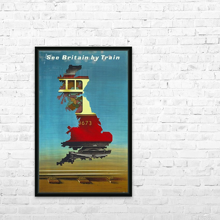 See Britain by Train, 1951 vintage poster HD Sublimation Metal print with Decorating Float Frame (BOX)