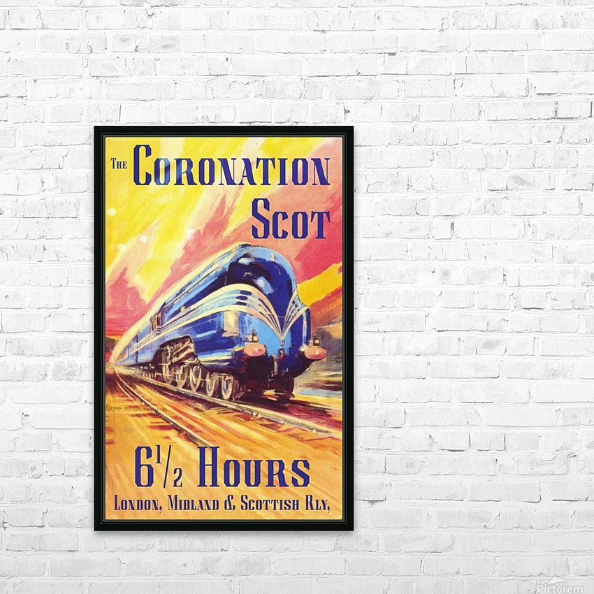 The Coronation Scot travel poster HD Sublimation Metal print with Decorating Float Frame (BOX)