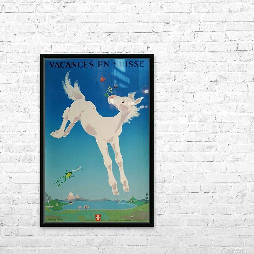 Original vintage poster Vacances en Suisse HD Sublimation Metal print with Decorating Float Frame (BOX)