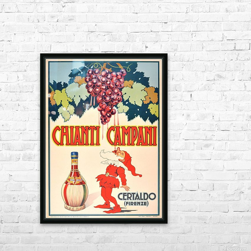 Original Vintage 1940 Advertising Poster For Chianti Campani HD Sublimation Metal print with Decorating Float Frame (BOX)