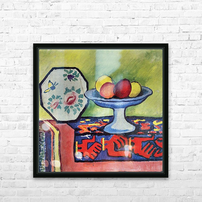 Still life with apple peel and a Japanese fan by August Macke HD Sublimation Metal print with Decorating Float Frame (BOX)