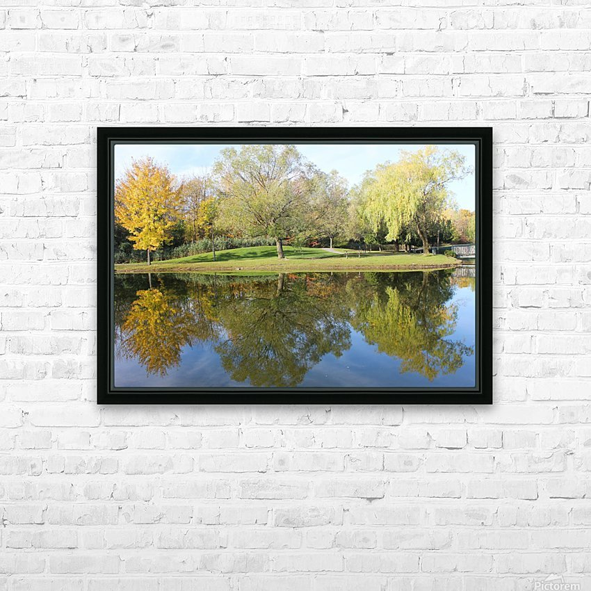 Tree reflection HD Sublimation Metal print with Decorating Float Frame (BOX)