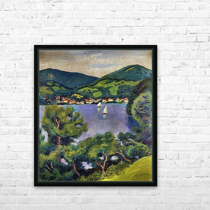 Tegern Sea landscape by August Macke HD Sublimation Metal print with Decorating Float Frame (BOX)