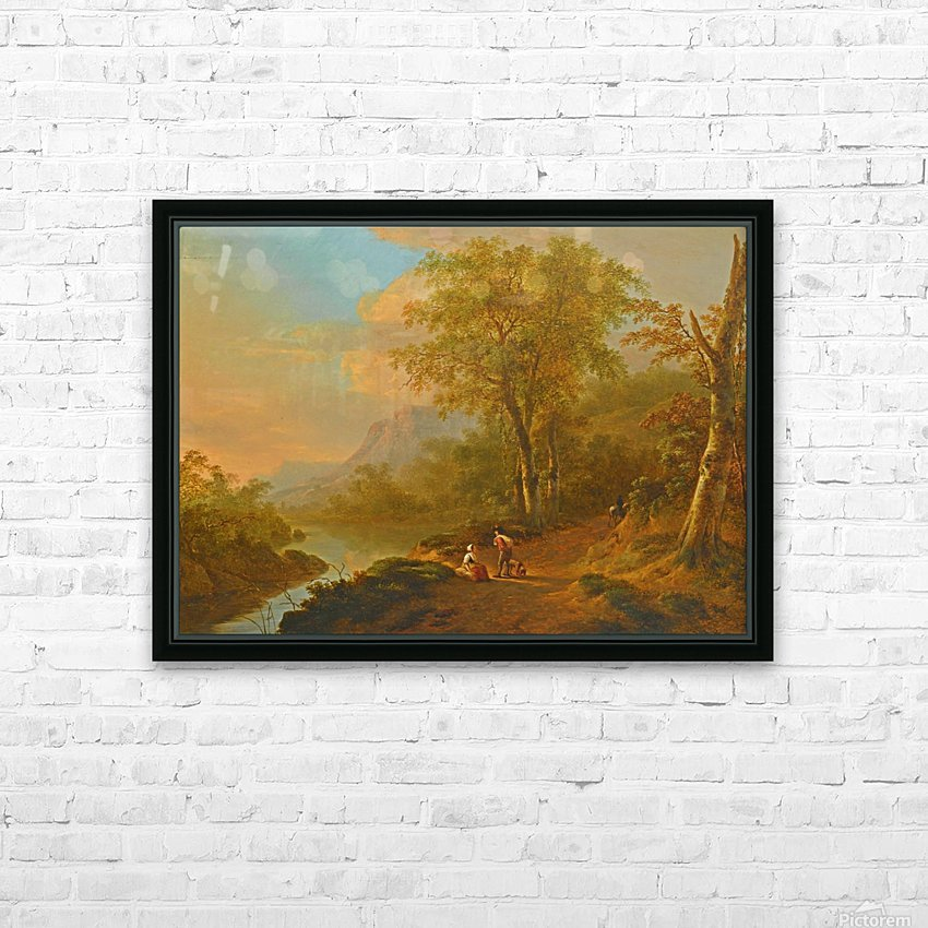 Travellers in a river landscape HD Sublimation Metal print with Decorating Float Frame (BOX)