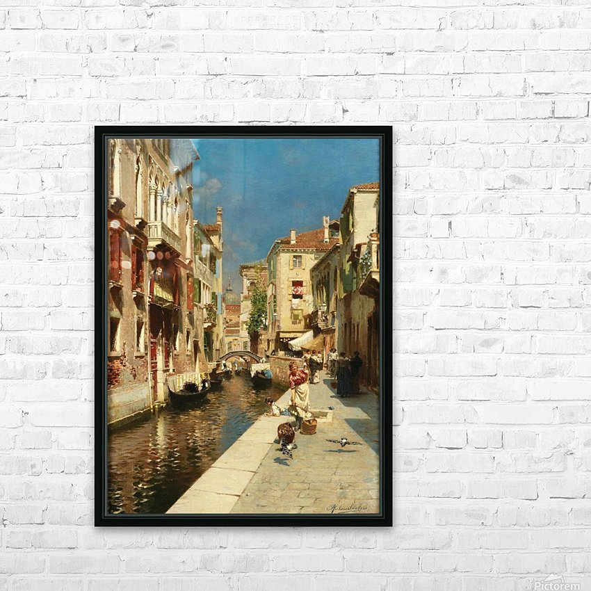 Mulheres ao lado de um canal veneziano HD Sublimation Metal print with Decorating Float Frame (BOX)