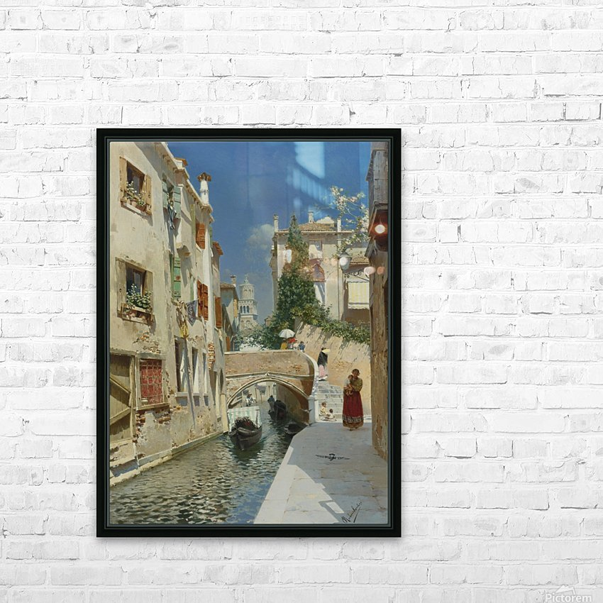 Venetian canal with the campanile of the Frari in the distance HD Sublimation Metal print with Decorating Float Frame (BOX)