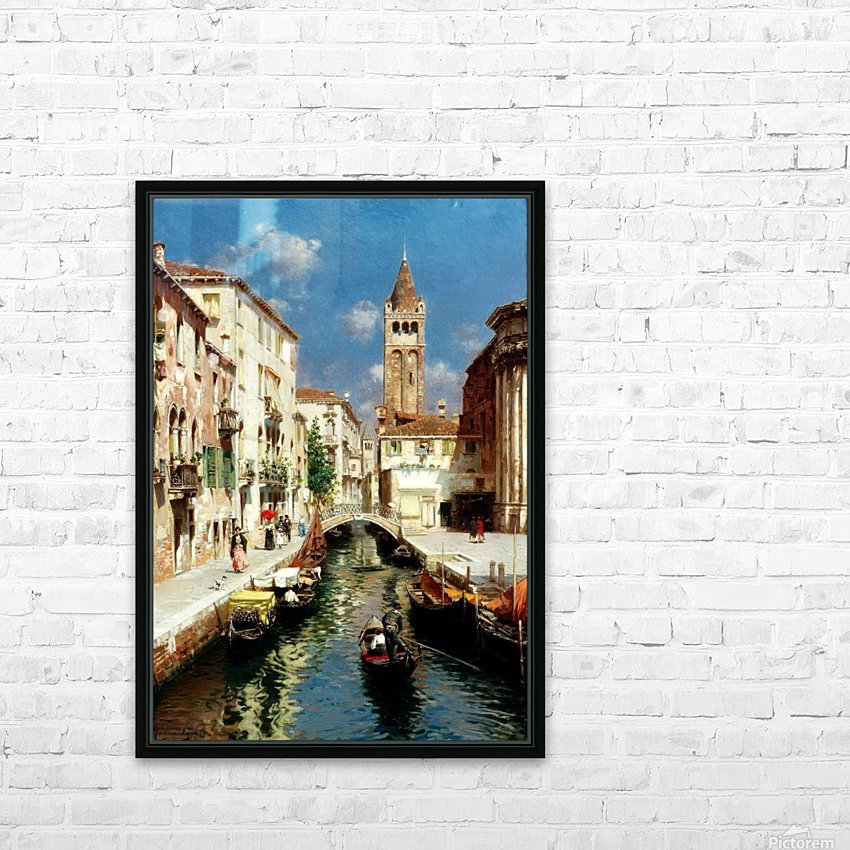 Along Venetian canal HD Sublimation Metal print with Decorating Float Frame (BOX)
