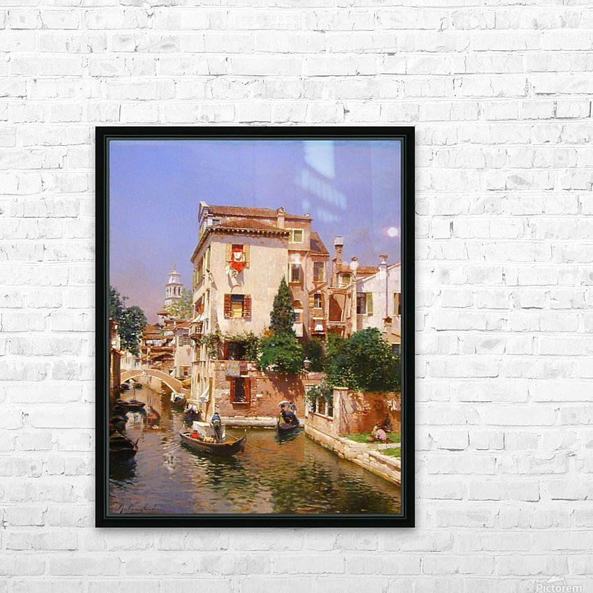 Gondoliers On A Venetian Canal HD Sublimation Metal print with Decorating Float Frame (BOX)