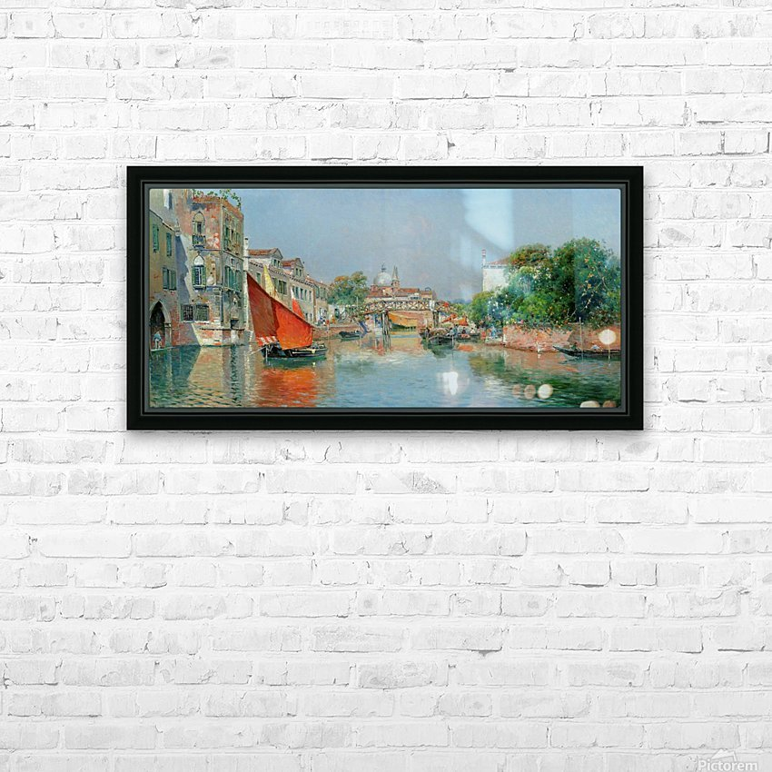 Boats along a Venetian canal HD Sublimation Metal print with Decorating Float Frame (BOX)