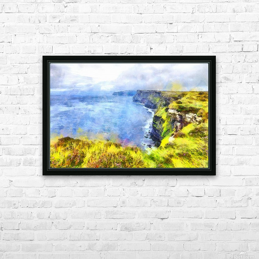 CLIFFS OF MOHER 1 WATERCOLOR HD Sublimation Metal print with Decorating Float Frame (BOX)