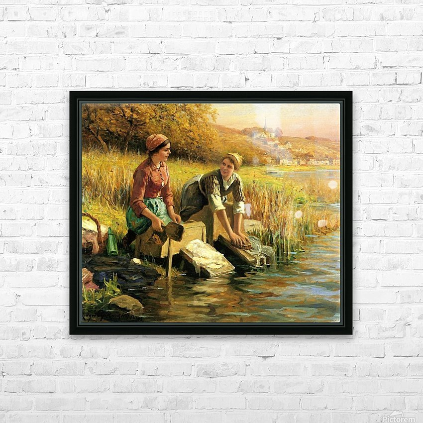 Women washing clothes by a stream HD Sublimation Metal print with Decorating Float Frame (BOX)