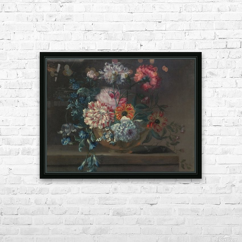 Still life of variegated carnations and other flowers on a ledge HD Sublimation Metal print with Decorating Float Frame (BOX)