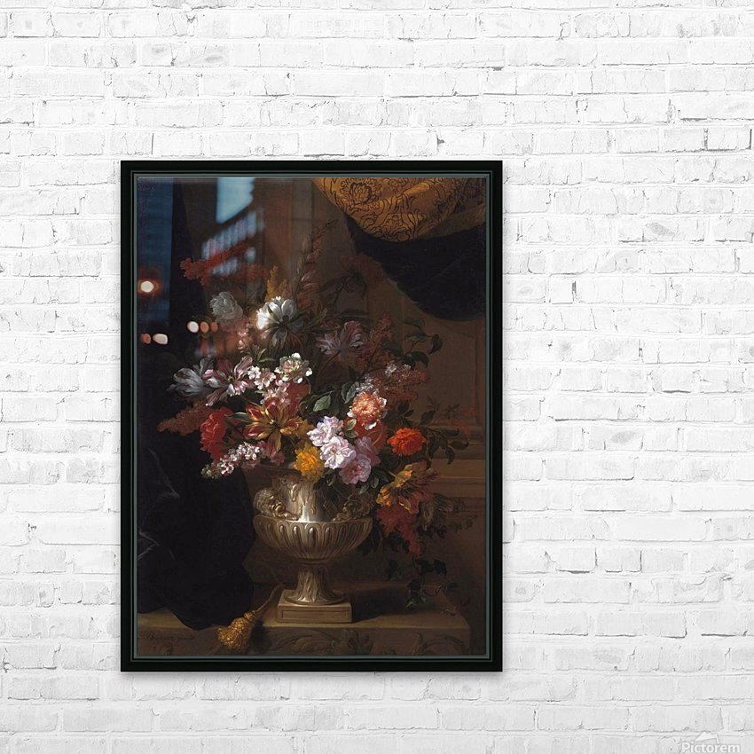 Flowers in a sculpted urns on a ledges HD Sublimation Metal print with Decorating Float Frame (BOX)