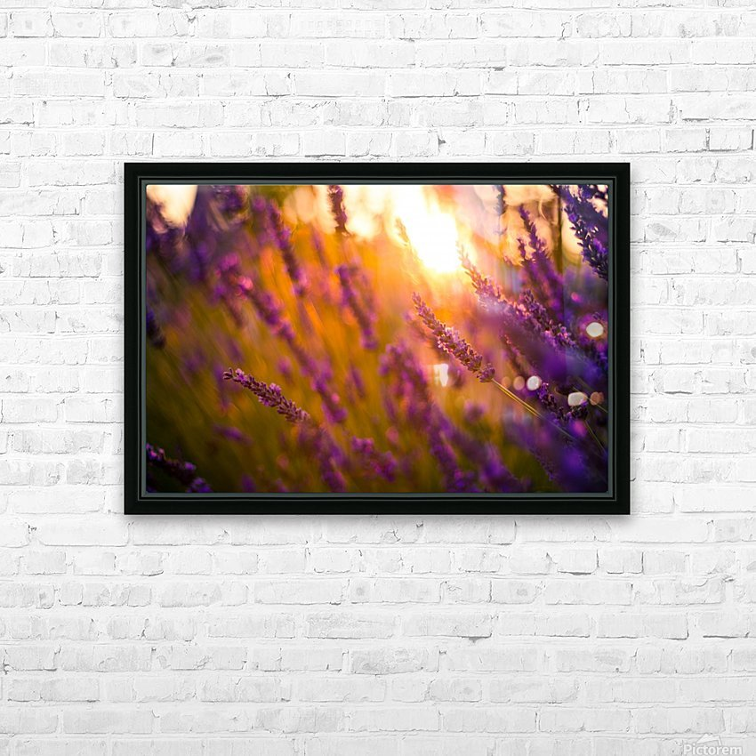Sunset lavender flowers HD Sublimation Metal print with Decorating Float Frame (BOX)