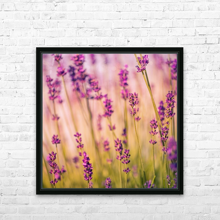 Beautiful Sunset lavender flowers HD Sublimation Metal print with Decorating Float Frame (BOX)