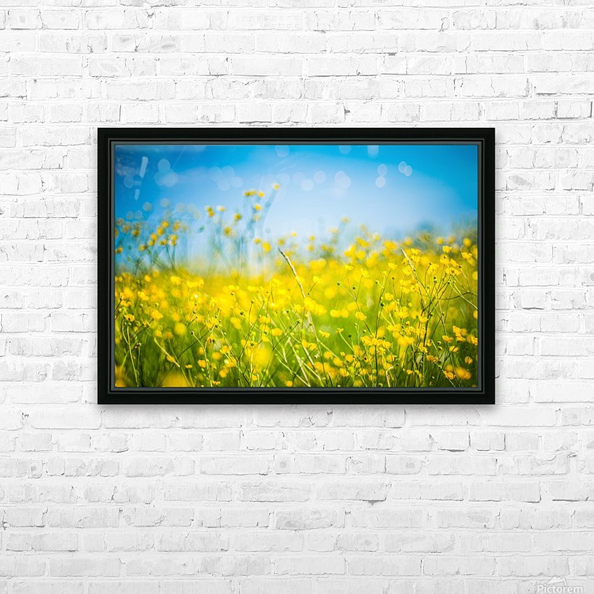 Summer flowers, yellow and blue HD Sublimation Metal print with Decorating Float Frame (BOX)