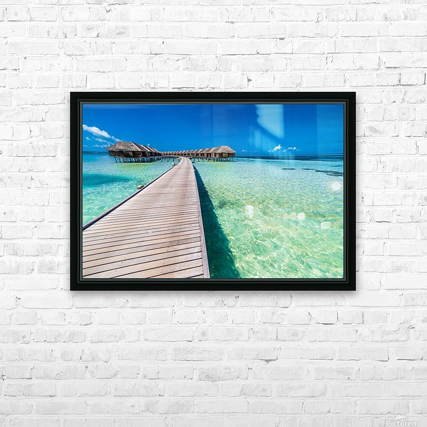 View of water bungalow in tropical island, Maldives, Indian ocean HD Sublimation Metal print with Decorating Float Frame (BOX)