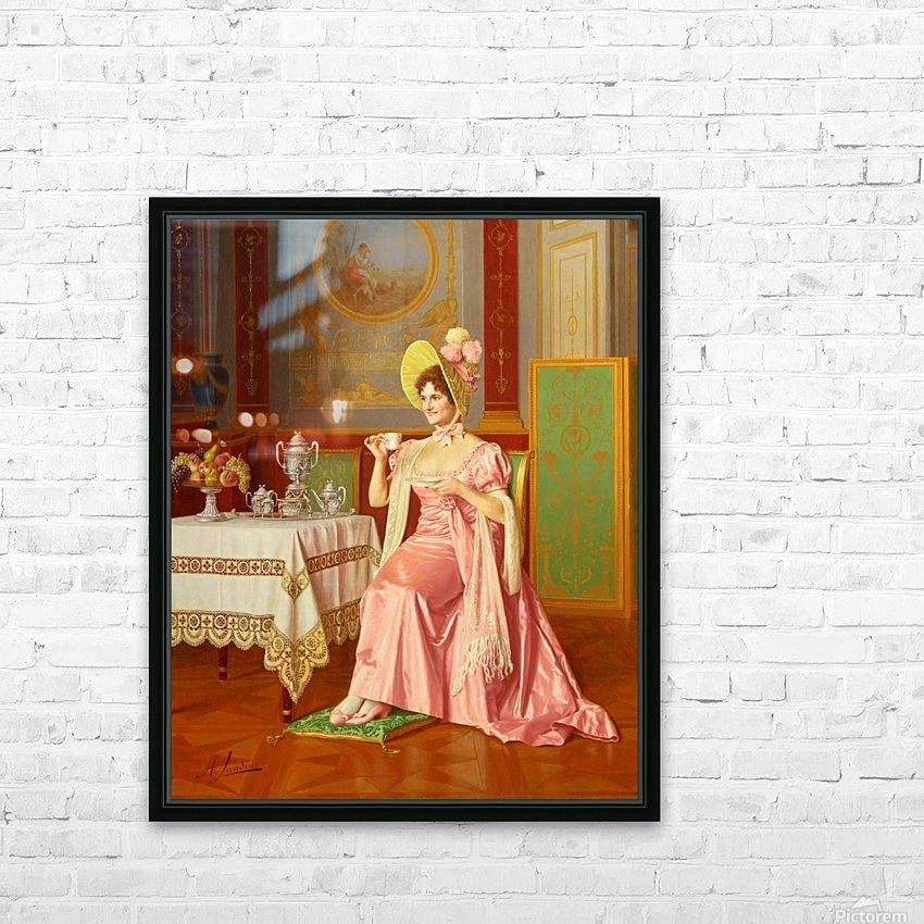 Lady having tea HD Sublimation Metal print with Decorating Float Frame (BOX)