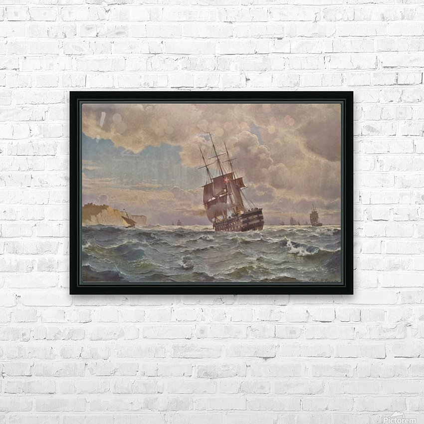 Ship along the line off the coast, 1875 HD Sublimation Metal print with Decorating Float Frame (BOX)