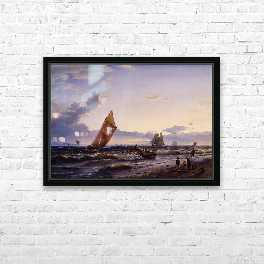 Beach at Hornbaek in the early morning HD Sublimation Metal print with Decorating Float Frame (BOX)