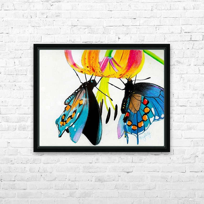 Butterflies and Lily HD Sublimation Metal print with Decorating Float Frame (BOX)