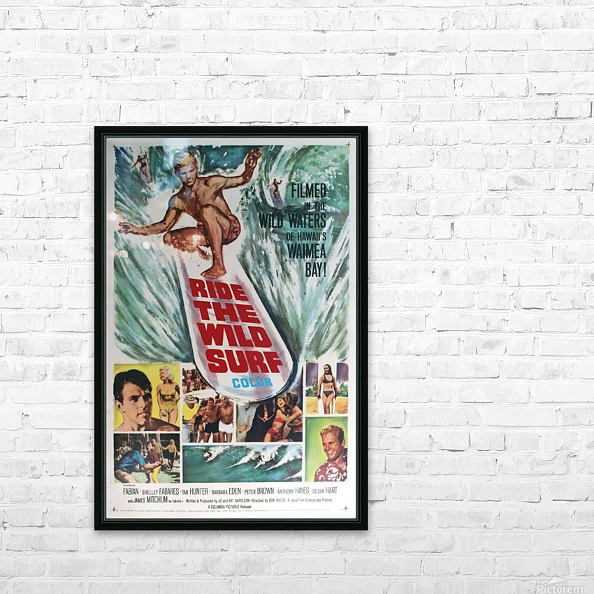 Original Vintage Surfing Movie Poster - Ride The Wild Surf HD Sublimation Metal print with Decorating Float Frame (BOX)