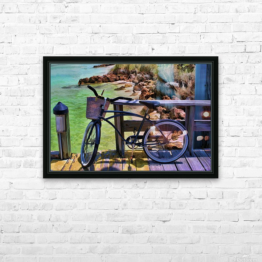 beach  bike  HD Sublimation Metal print with Decorating Float Frame (BOX)