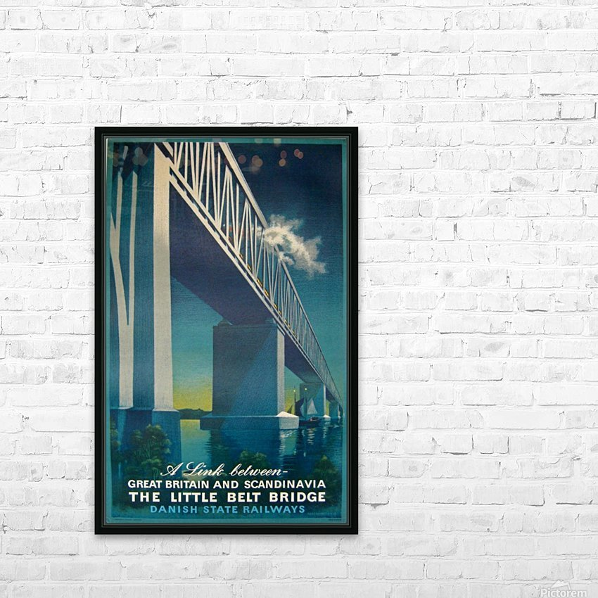 Vintage travel poster for Danish State Railways HD Sublimation Metal print with Decorating Float Frame (BOX)