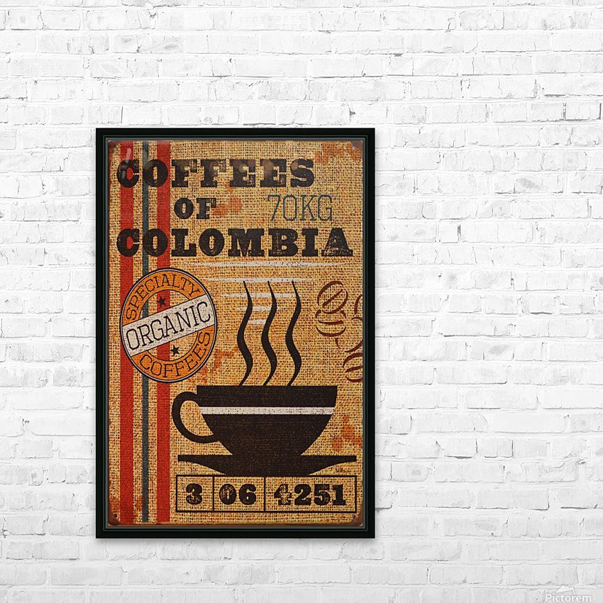 Colombian coffee vintage poster HD Sublimation Metal print with Decorating Float Frame (BOX)