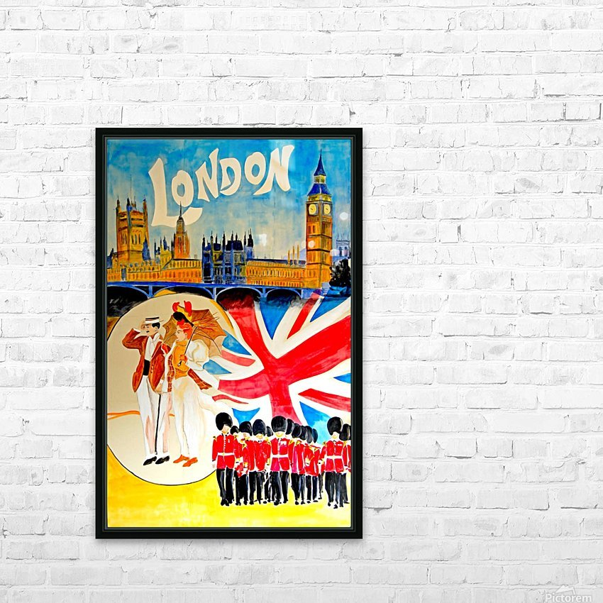 Vintage travel poster for London, England HD Sublimation Metal print with Decorating Float Frame (BOX)