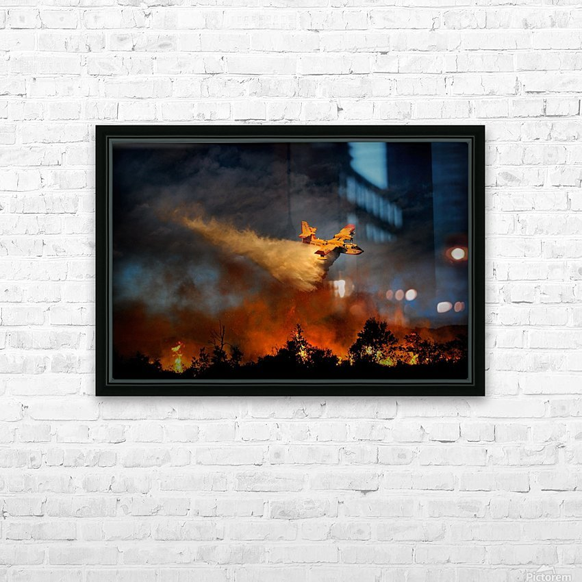 Wall of fire HD Sublimation Metal print with Decorating Float Frame (BOX)
