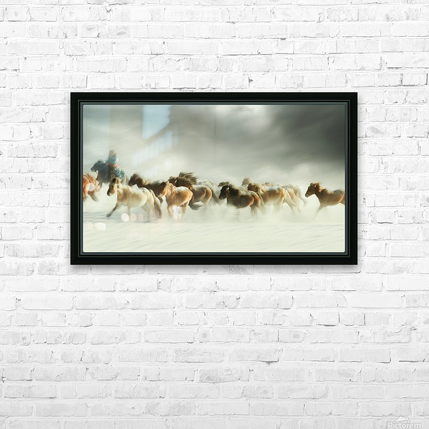 Horses gallop HD Sublimation Metal print with Decorating Float Frame (BOX)