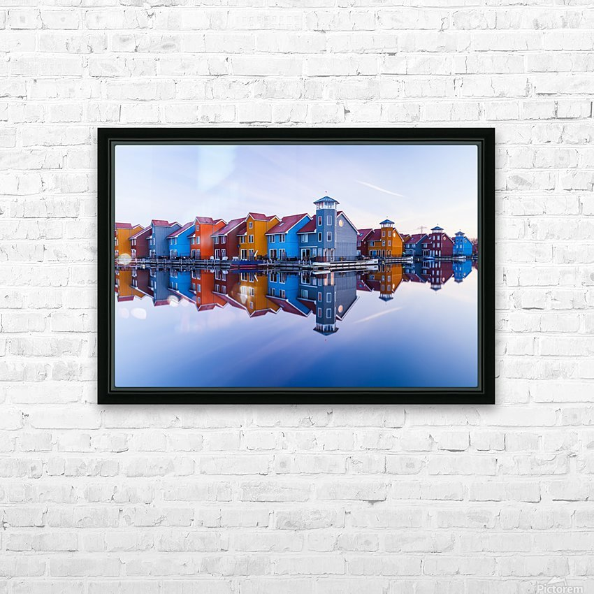 Colored homes HD Sublimation Metal print with Decorating Float Frame (BOX)