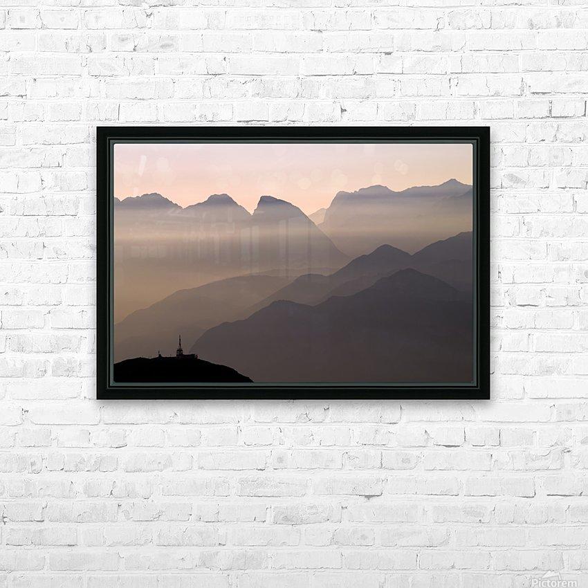 Alpine Sunset HD sublimation métal imprimé avec décoration flotteur cadre (boîte)