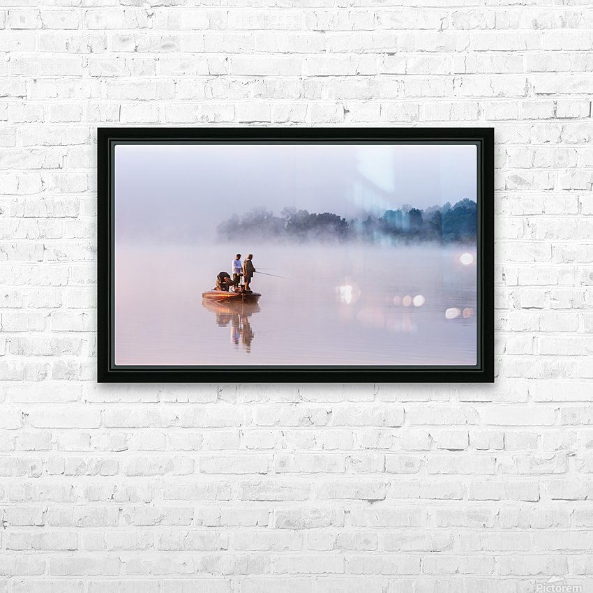 Fishing on Foggy Lake HD Sublimation Metal print with Decorating Float Frame (BOX)