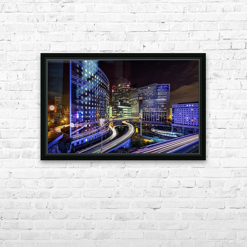 Night traffic HD Sublimation Metal print with Decorating Float Frame (BOX)