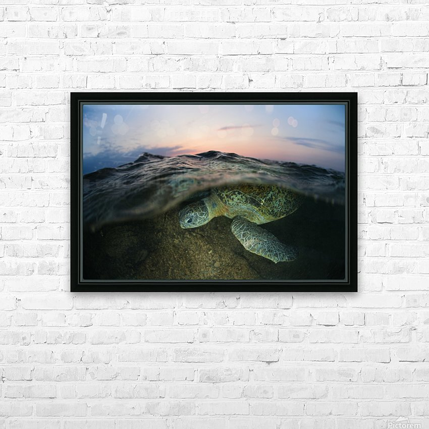 Under the wave HD Sublimation Metal print with Decorating Float Frame (BOX)