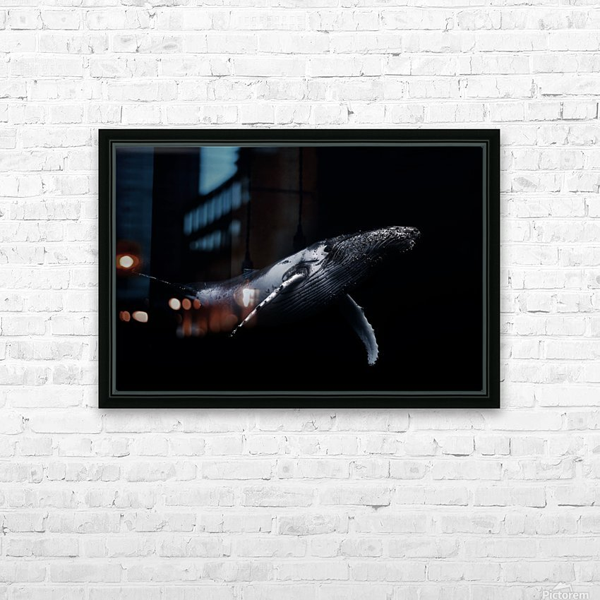 Black & Whale HD Sublimation Metal print with Decorating Float Frame (BOX)