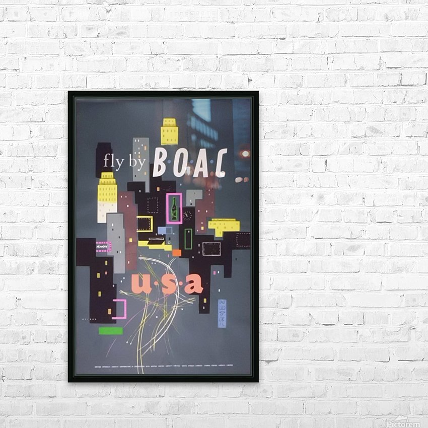 Original 1954 BOAC USA Travel Poster HD Sublimation Metal print with Decorating Float Frame (BOX)