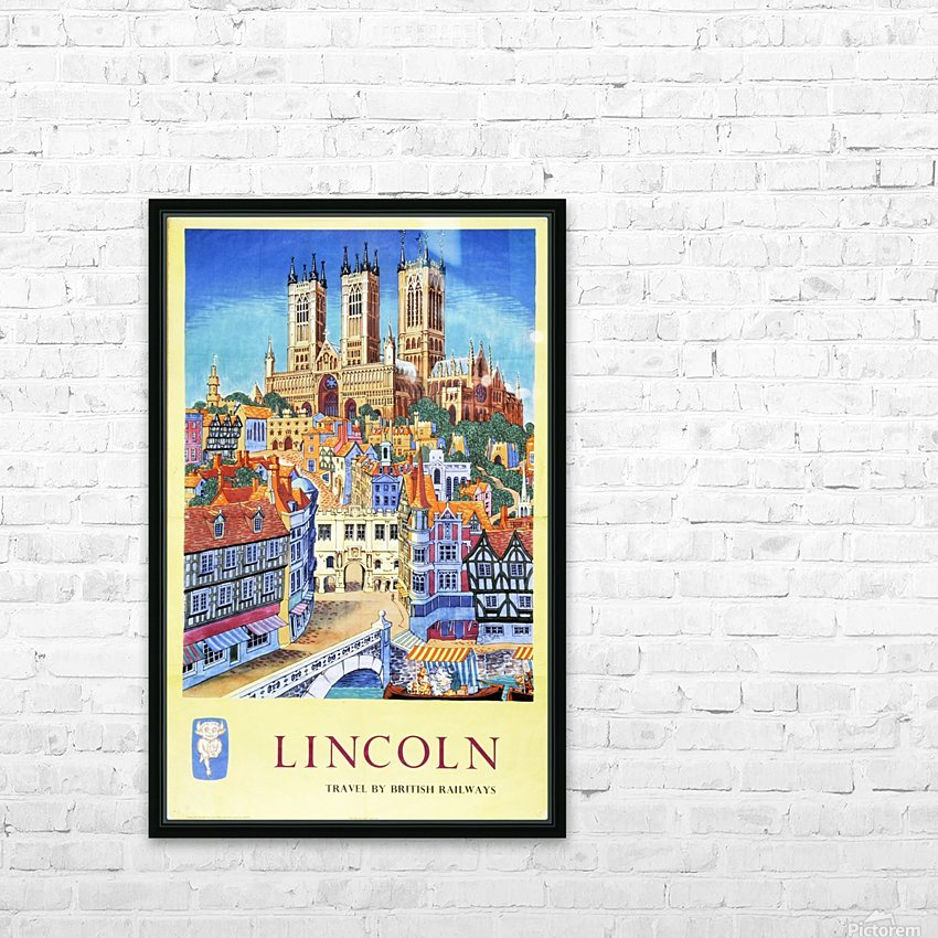 Lincoln vintage travel poster for British Railways HD Sublimation Metal print with Decorating Float Frame (BOX)