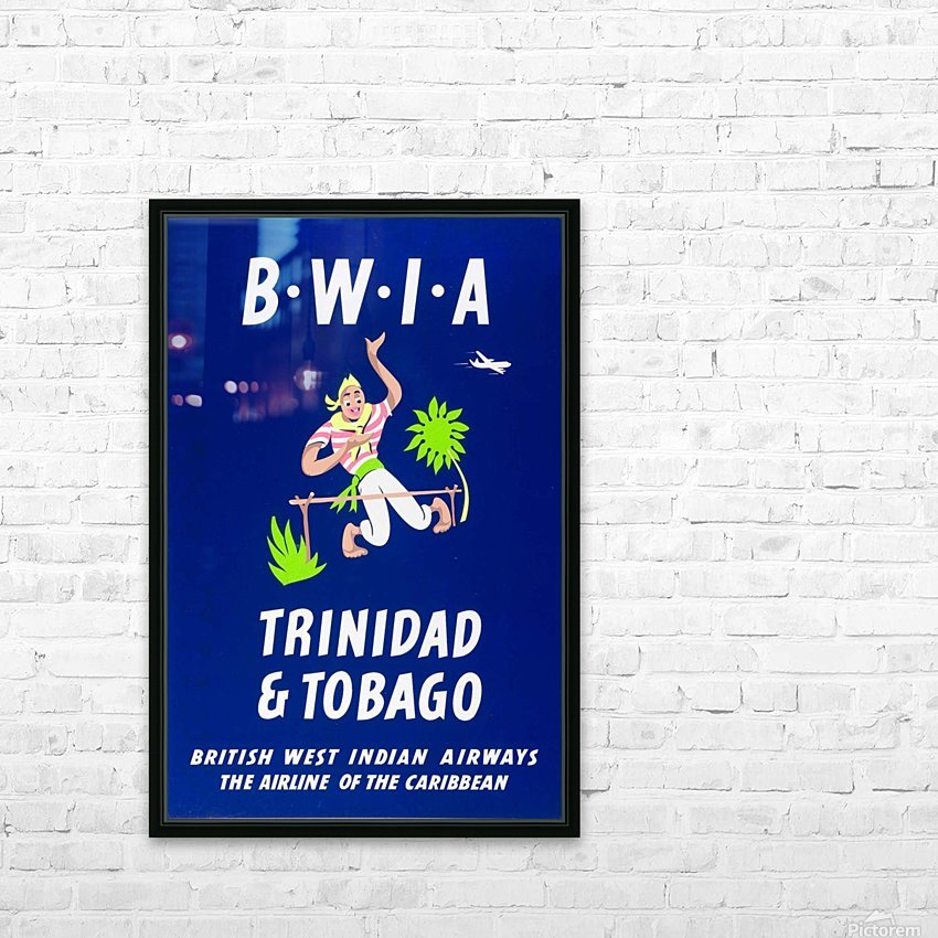 BWIA Trinidad Tobago original travel poster HD Sublimation Metal print with Decorating Float Frame (BOX)
