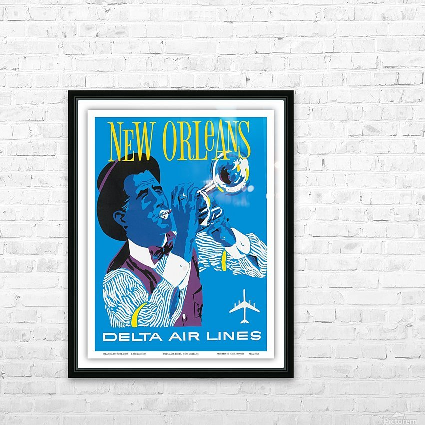 Delta Air Lines New Orleans USA Vintage Travel Poster HD Sublimation Metal print with Decorating Float Frame (BOX)