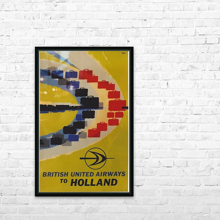 British United Airlines to Holland travel poster HD Sublimation Metal print with Decorating Float Frame (BOX)