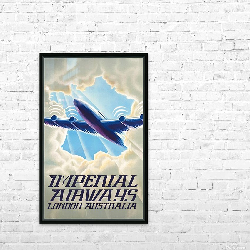 Imperial Airways London - Australia vintage travel poster HD Sublimation Metal print with Decorating Float Frame (BOX)
